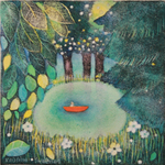 KRISTINA SWARNER - SMALL BOAT IN POND - MIXED MEDIA ON PAPER - 6.5 X 6.5
