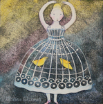 KRISTINA SWARNER - BIRDCAGE DRESS - MIXED MEDIA ON PAPER - 6.5 X 6.5