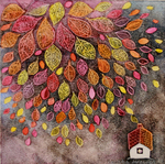 KRISTINA SWARNER - AUTUMN HOUSE - MIXED MEDIA ON PAPER - 8 X 8