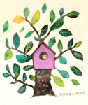 KRISTINA SWARNER - BIRDHOUSE - MIXED MEDIA - 4 X 4.5