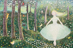 KRISTINA SWARNER - BALLERINA IN FOREST - MIXED MEDIA - 17.5 X 11.5