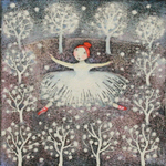 KRISTINA SWARNER - SNOW DANCE - MIXED MEDIA ON PAPER - 5.75 X 5.75