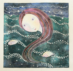 KRISTINA SWARNER - WOMAN SWIMMING - MIXED MEDIA ON PAPER - 8 X 8