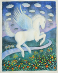 KRISTINA SWARNER - PEGASUS - MIXED MEDIA ON PAPER - 9.25 X 12