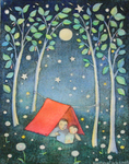 KRISTINA SWARNER - CAMPING - MIXED MEDIA ON PAPER - 6.25 X 8