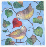 KRISTINA SWARNER - LOVE BIRDS - MIXED MEDIA - 6 X 6