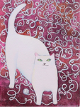 KRISTINA SWARNER - RED CAT - MIXED MEDIA ON PAPER - 7.5 X 11.25