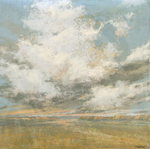 PATRICIA PRESCOTT SUEME - WHITE CLOUDS OVER DISTANT CANYON - PASTEL - 9.5 X 9.5