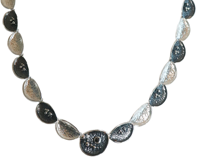 EVA STONE - SILVER NECKLACE W/ OXIDIZED ACCENTS - STERLING