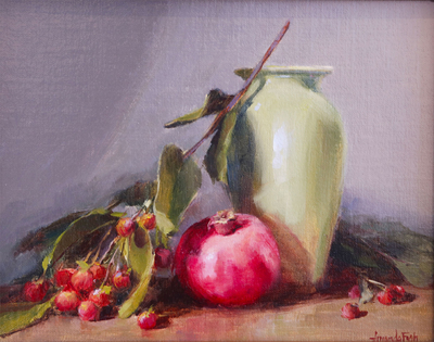 AMANDA FISH - RED BERRIES & POMEGRANATE - OIL LINEN - 8X10