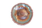 KARL TANI - ORANGE ROUND PLATE WITH CIRCLE SYMBOL - CERAMIC - 12 X 12.5 X 1