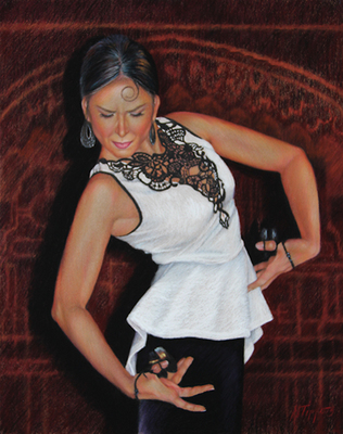 MARIE TIPPETS - THE FLAMENCO DANCER - PASTEL - 22 X 26