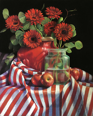 MARIE TIPPETS - RED GERBERAS AND STRIPES - PASTEL - 22 X 26