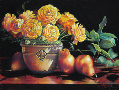 MARIE TIPPETS - RANUNCULUS AND PEARS - PASTEL ON BOARD - 12 X 9