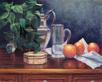 MARIE TIPPETS - ON THE SIDEBOARD - PASTEL ON BOARD - 20 X 16