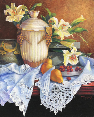 MARIE TIPPETS - LILIES AND PEARS - PASTEL ON BOARD - 16 X 20