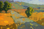 KIM VANDERHOEK - ROAD TO THE HILLS - OIL ON PAPER - 10.25 X 7.25