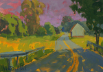 KIM VANDERHOEK - ROAD TO TOWN - OIL ON PAPER - 12 X 9