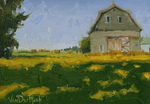 KIM VANDERHOEK - SUMMER BARN - OIL ON PAPER - 12 X 9
