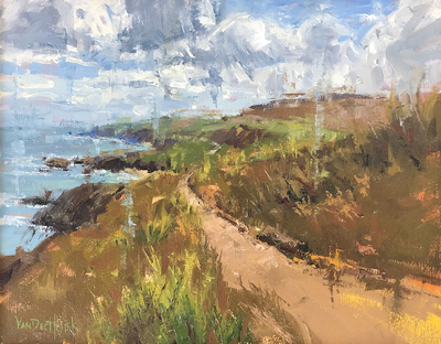 KIM VANDERHOEK - COASTAL PATH - OIL ON PANEL - 14 X 11