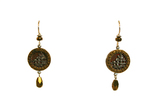 MERRY WENNERBERG - GOLD & BURGUNDY VINTAGE BUTTON EARRINGS - MISC
