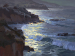 JIM WODARK - MOONLIT SURF - OIL ON CANVAS - 40 X 30