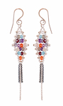 YED OMI - WOVEN DIAMOND TASSEL DUSTER EARRINGS - SILVER & GEMSTONES