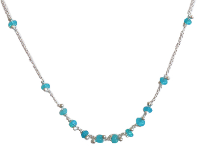 YED OMI - SILVER & BLUE OPAL RONDEL NECKLACE - STERLING & BLUE OPAL