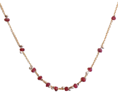 YED OMI - GOLD & RUBY RONDEL NECKLACE - GOLD & RUBY