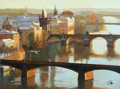 JIE ZHOU - FIRST SNOW IN PRAGUE - OIL ON CANVAS - 34 X 26