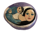 MARY ZARBANO - YOUNG WOMAN WITH CHILD PAINTED PURPLE ROCK - MIXED MEDIA - 5.5 X 4.5 X 1.5