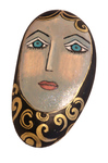 MARY ZARBANO - WOMAN WITH GOLD CURLS PAINTED BLACK ROCK - MIXED MEDIA - 4.5 X 8.5 X 1