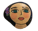 MARY ZARBANO - YOUNG WOMAN WITH PURPLE FLOWER IN HAIR PAINTED ROCK - MIXED MEDIA - 4 X 4 X .5