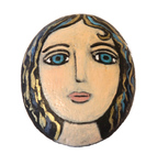 MARY ZARBANO - YOUNG WOMAN WITH GOLD AND BLUE CURLS PAINTED ROCK - MIXED MEDIA - 3.5 X 3 X .5