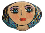 MARY ZARBANO - YOUNG WOMAN WITH PURPLE EYESHADOW PAINTED ROCK - MIXED MEDIA - 4.25 X 3.25 X 1