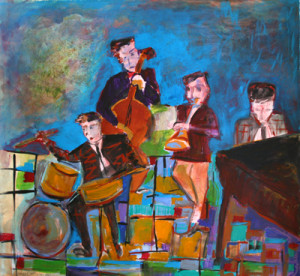 Night at Vibratto's, acrylic on paper by Joyce Lieberman
