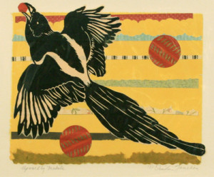 Ouida Touchon woodcut and chine colle print