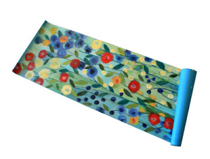 Carrie Schmitt hand-painted contemporary floral yoga mat