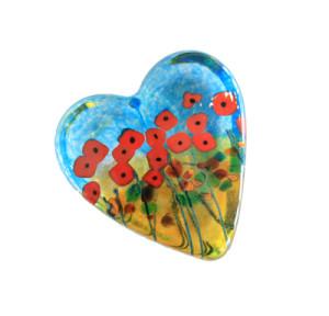 Robert Held glass heart paperweight