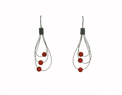 egg beater earrings, coral and wire, laurette oneil