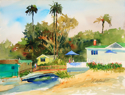 Pete Roberts watercolor painting, Crystal Cove, local art
