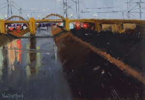Kim VanDerHoek contemporary urbanscape oil painting